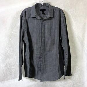 INC Men's Long Sleeve Button Front Shirt Sz L Blk